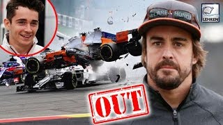 Fernando Alonso Out Of Belgian Grand Prix After Crashing into Nico & Charles Leclerc