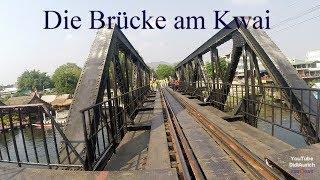 Walking over the bridge over the River Kwai Bridge Thailand zu Fuss über die Brücke am Kwai ประเทศไท