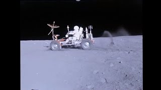 Lunar Rover (LRV) on the Moon - Apollo 16 - HD Video Stabilized