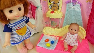 Baby Doli and house carrier, baby doll bath toys play