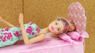 Barbie Bett selber basteln | aus alt mach neu | Karton wird zu hübschem Prinzessinnen Bett | Basteln