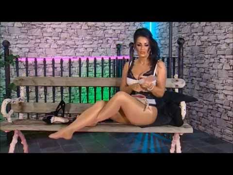 amazing modesty blaze with her sexy legs in shiny tan pantyhose
