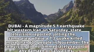 Magnitude 5.1 quake hits western Iran - state TV