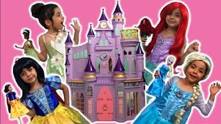 Disney Princess In Real Life Movie + Frozen Elsa And Anna, Rapunzel Hair + Dolls Toys + DREAM CASTLE