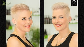 extreme short buzzcut women |crew cut girl |platinum blonde women undercut short haircut pixie ins