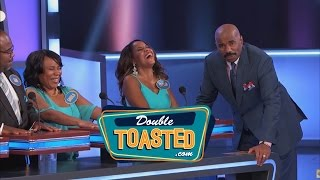 STEVE HARVEY FLIPS OUT AT FAMILY FEUD CONTESTANTS - Double Toasted Highlight