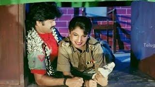 Nagarjuna & Ramya Krishna hiding in the police station - Hello Brother Movie Comedy Scenes