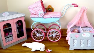 Baby Annabell Carriage Pram Baby Dolls Bedroom Morning Routine Going Out in Pram