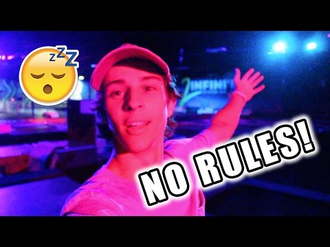 BEST OVERNIGHT CHALLENGE AT TRAMPOLINE PARK SNEAKING IN