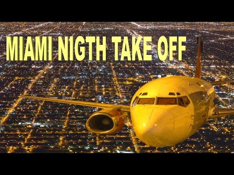 MIAMI NIGHT TAKE OFF - FLORIDA 2016 4K