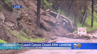 Laurel Canyon Remains Closed As Hillsides Continue To Slip