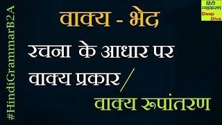 Hindi Grammar - Vakya Ke Bhed Rachna Ke Aadhar Per    रचना के आधार पर वाक्य के भेद