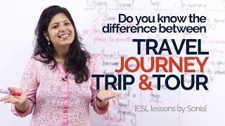 English Speaking Lesson – What is different about Travel, Trip, Journey & Tour. –English Vocabulary.