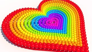 Learning Colors with A lot of 3D Lollipops Heart for Kids and Children