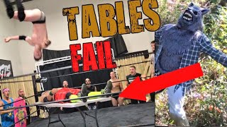 GREATEST TABLE FAIL EVER! WEREWOLF IN THE WOODS? GTS WRESTLING SUPERCARD EVENT!