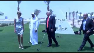 Donald Trump hits golf ball in desert and wants to frame it - BBC