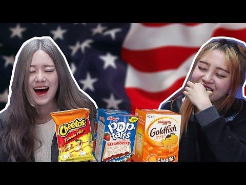 Korean Girls Taste American Snacks (ENG SUB) [Korean Bros]
