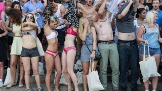 100 naked protesters celebrate end of hidden bank fees