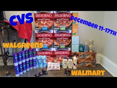 CVS COUPON DEAL HAUL WALGREENS/WALMART!! CHEAP PIZZA & SODA!!  12/11-12-17