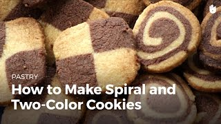 Pinwheel and checkerboard two-colored cookies