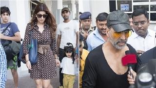 Akshay Kumar wife Twinkle Khanna के साथ हुए Mumbai airport पर Capture