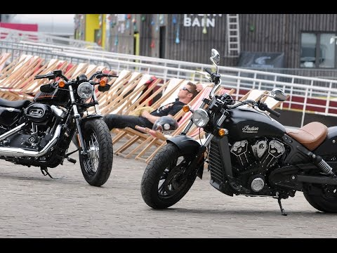 Harley Davidson Forty Eight vs Indian Scout Duel made in USA