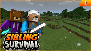 OUR FIRST HOME!! - Sibling Survival EP.1 - Minecraft PE (Pocket Edition)