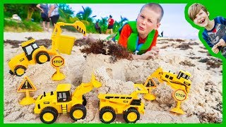 Construction Trucks For Children | Digging Sand at the Beach