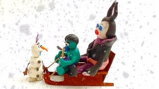 Hulk Maleficent Sledding on Snowy Day Superhero IRL Movie Fun Baby StopMotion Videos