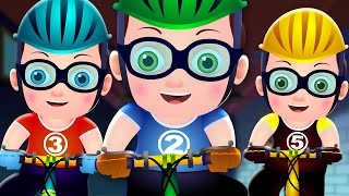 FIVE LITTLE BABIES CYCLING ON THE STREET |  Nursery Rhymes and Songs for Kids | TinyDreams