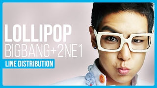 BIGBANG & 2NE1 - Lollipop Line Distribution (Color Coded)