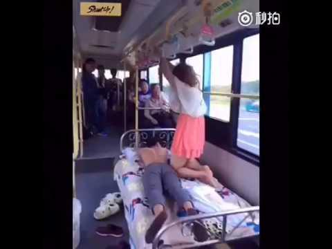 Giving the boyfriend a massage on a public bus.