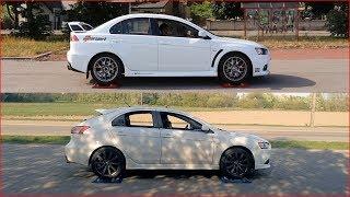 Mitsubishi Lancer Evolution X S-AWC vs Mitsubishi Lancer Ralliart AWC - 4x4 test on rollers