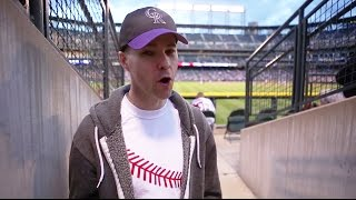 Catching an insanely long home run during batting practice at Coors Field