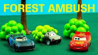 Forest Ambush Race Lightning McQueen finds himself in a new place Racing Jackson Storm Cars