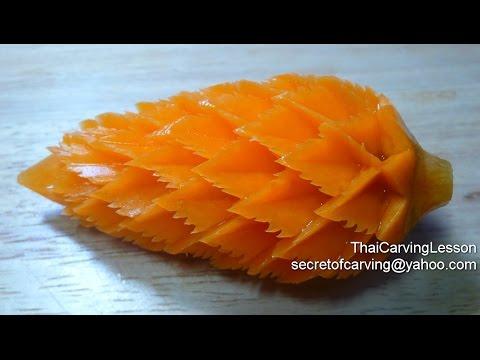 Carrot Galangal Flower ZigZag Petals Lesson1for Advance แกะสลักดอกข่ากลีบรักเร่หยัก