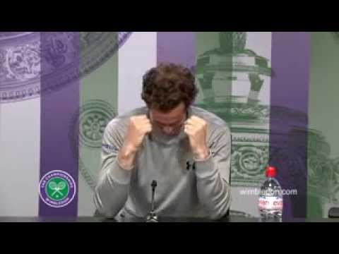 Andy Murray reacts to brother s win at Wimbledon press conference CUTE