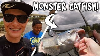 Fishing for Monster Catfish with a Subscriber! - Vlog (River Fishing)