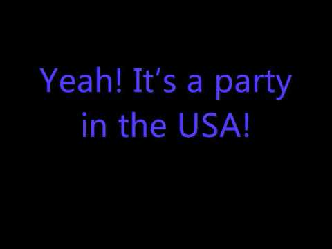 watch Party in the usa with lyrics Miley Cyrus