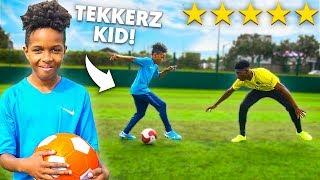 TEKKERZ KID vs OVERPOWERED FOOTBALL.. CURVE Like MESSI, RONALDO & MBAPPE!!