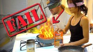 COOKING DINNER BLINDFOLDED!! (DON