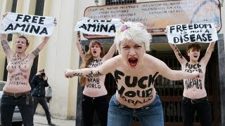 اعتراض زنان برهنه در برابر مرکز اسلام جامع بروکسل