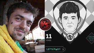 agadmator vs Magnus Carlsen (the App) - Age 11