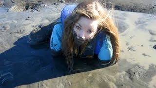 2 girls accidentally Stuck in REAL QUICKSAND in the Arctic