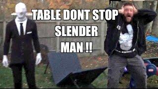 SLENDER MAN PUT THROUGH A TABLE! Backyard Wrestling WWE Figures Fight!