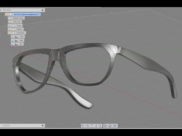 Designing sunglasses in Autodesk Fusion 360 - Creating the volume - 2/3