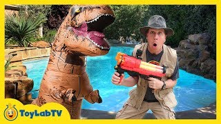 T-REX NERF WAR! Giant Life Size Dinosaur Attacks, Family Fun Parent vs Kid Battle & Toys Collection