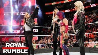 Ronda Rousey confronts Asuka, Alexa Bliss and Charlotte Flair: Royal Rumble 2018 (WWE Network)