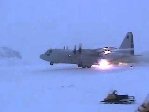 Hercules C-130 Takes Off From Icy Antarctica
