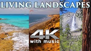 4K LIVING LANDSCAPES (+Binaural Music) | Nature Relaxation™ 4HR Stress Relief/Screensaver Video UHD